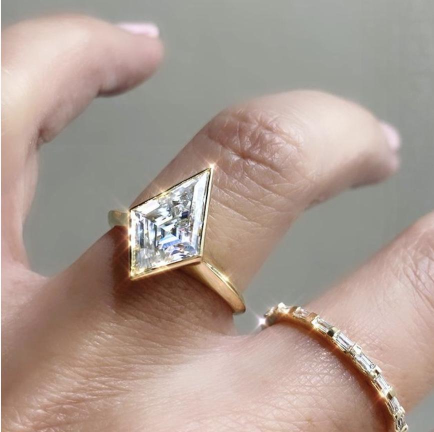 Trabert Goldsmiths 2ct Kite Shape Moissanite Jezebel Ring