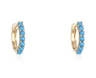 Trabert Goldsmiths Turquoise Hoop Earrings E3053