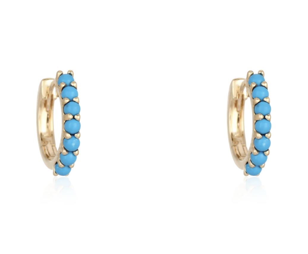 Trabert Goldsmiths Turquoise Hoop Earrings