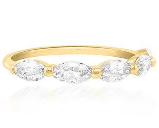 Trabert Goldsmiths Luna Antique Moval Diamond Half Eternity Yellow Gold Band E3054