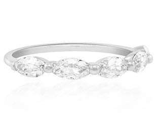 Trabert Goldsmiths Luna Antique Moval Diamond Half Eternity White Gold Band E3055