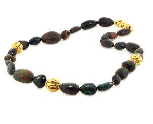 Trabert Goldsmiths Black Ethiopian Opal Oval Beaded Necklace E1746