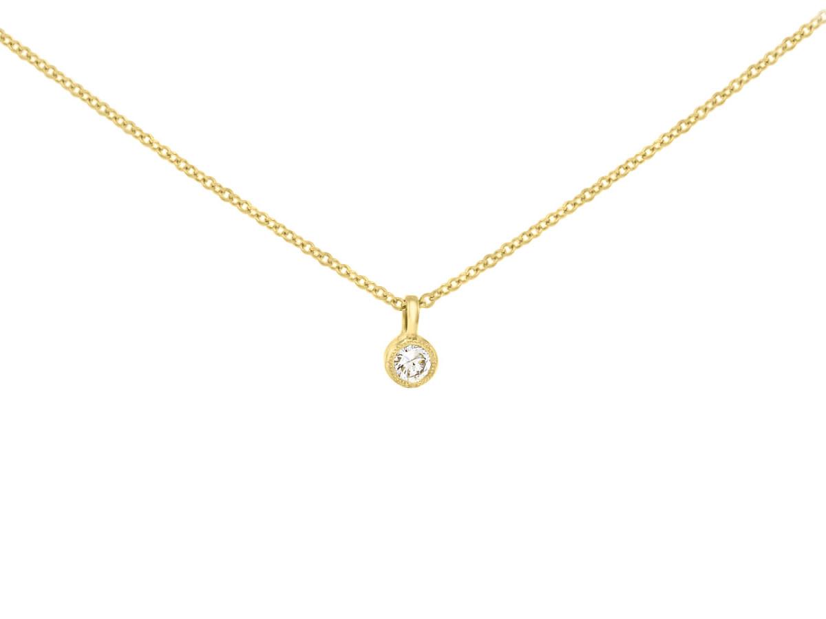 Trabert Goldsmiths Pear & Round Diamond Pendant