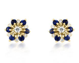 Beverley K Collection Sapphire & Diamond Flower Earrings AB535
