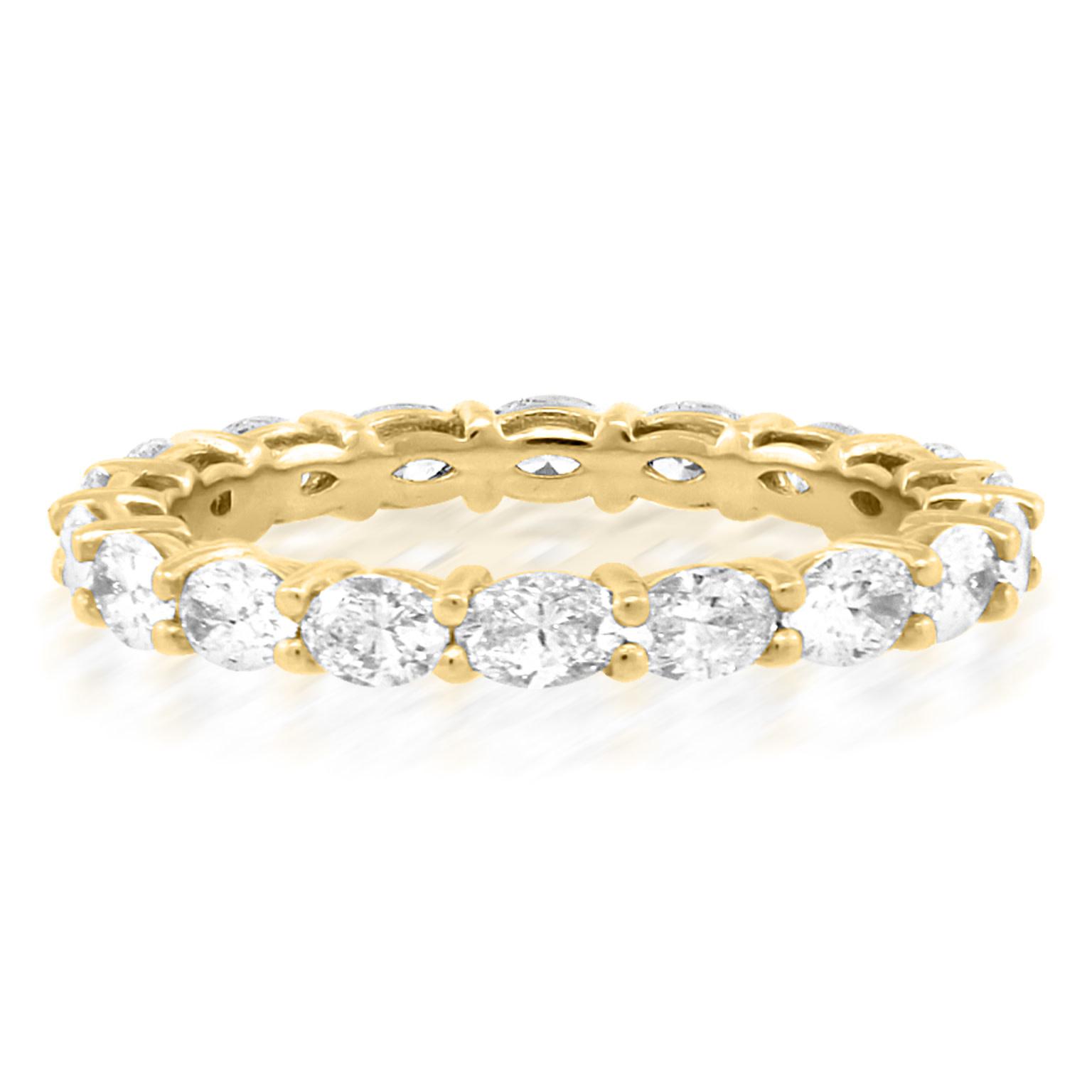 Trabert Goldsmiths Oval Diamond Eternity Yellow Gold Ring