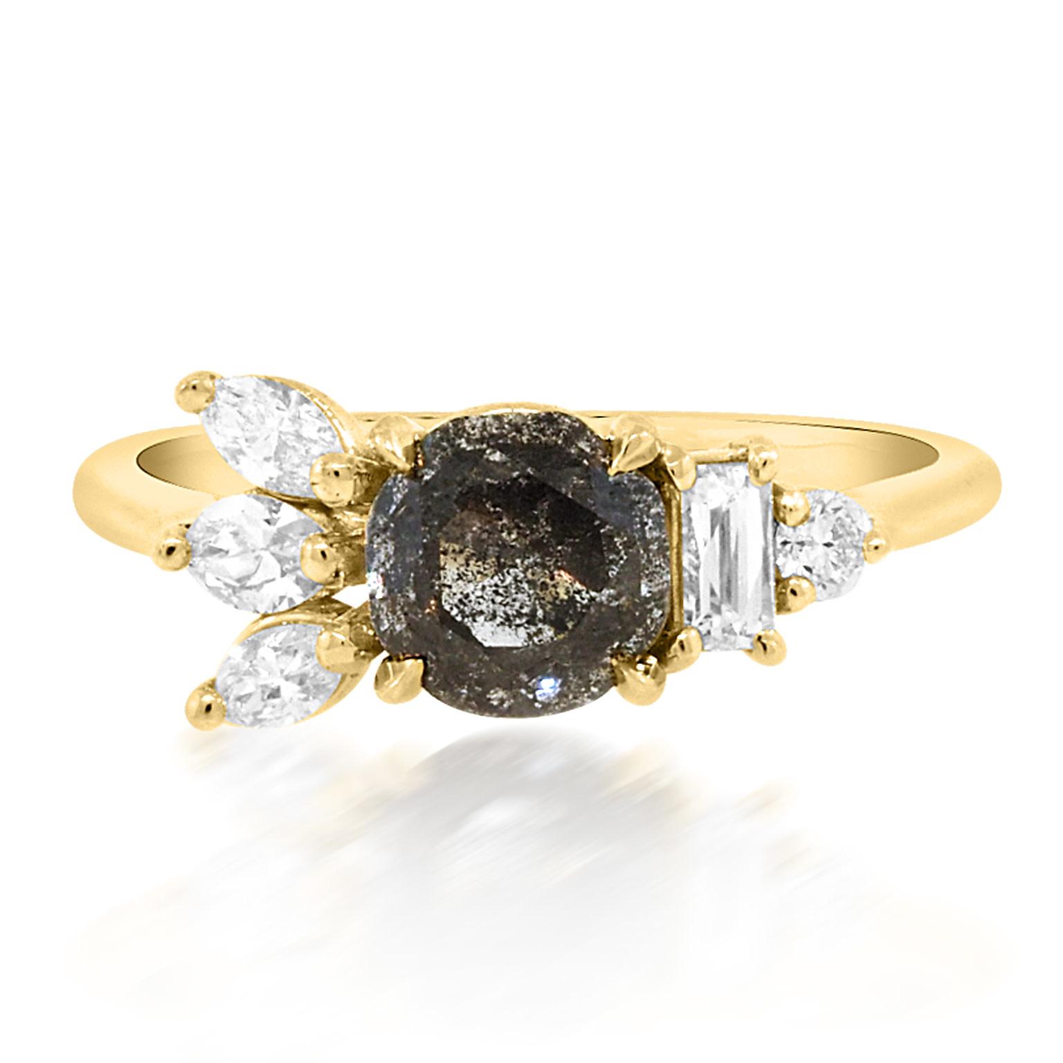 Trabert Goldsmiths Salt & Pepper Flare Diamond Ring