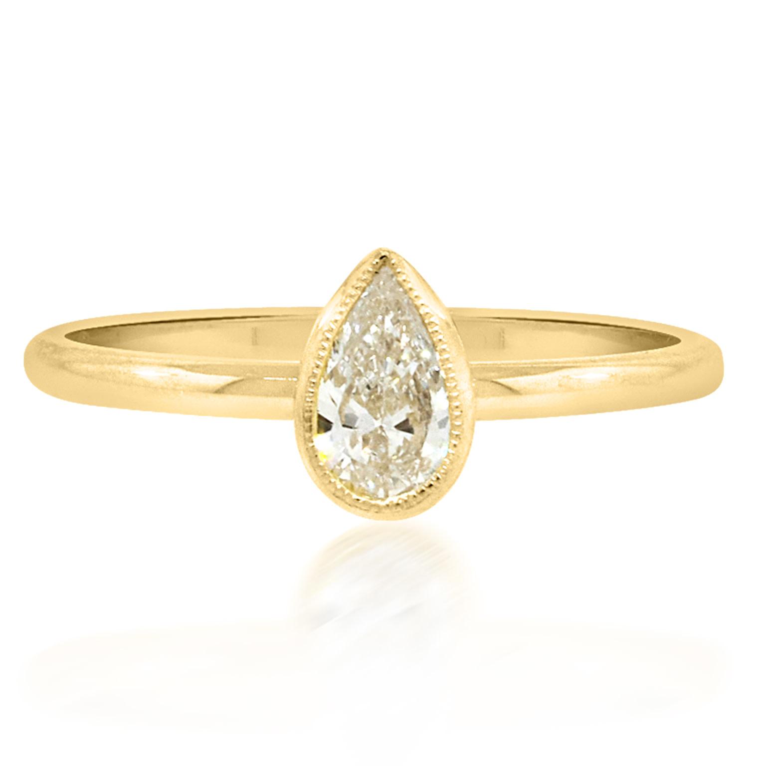 Trabert Goldsmiths Pear Diamond Yellow Gold Ring