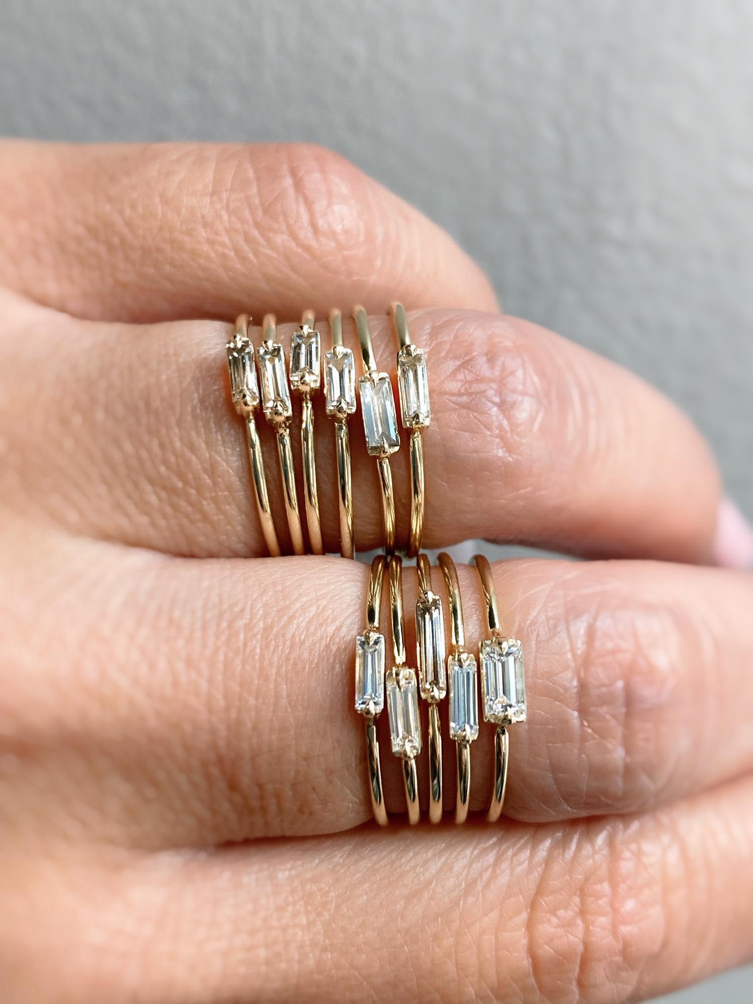 Trabert Goldsmiths Single Baguette Diamond Yellow Gold Ring