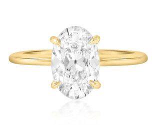 Trabert Goldsmiths 2.02ct FVS1 Antique Oval Lab Diamond Aura Ring E3071