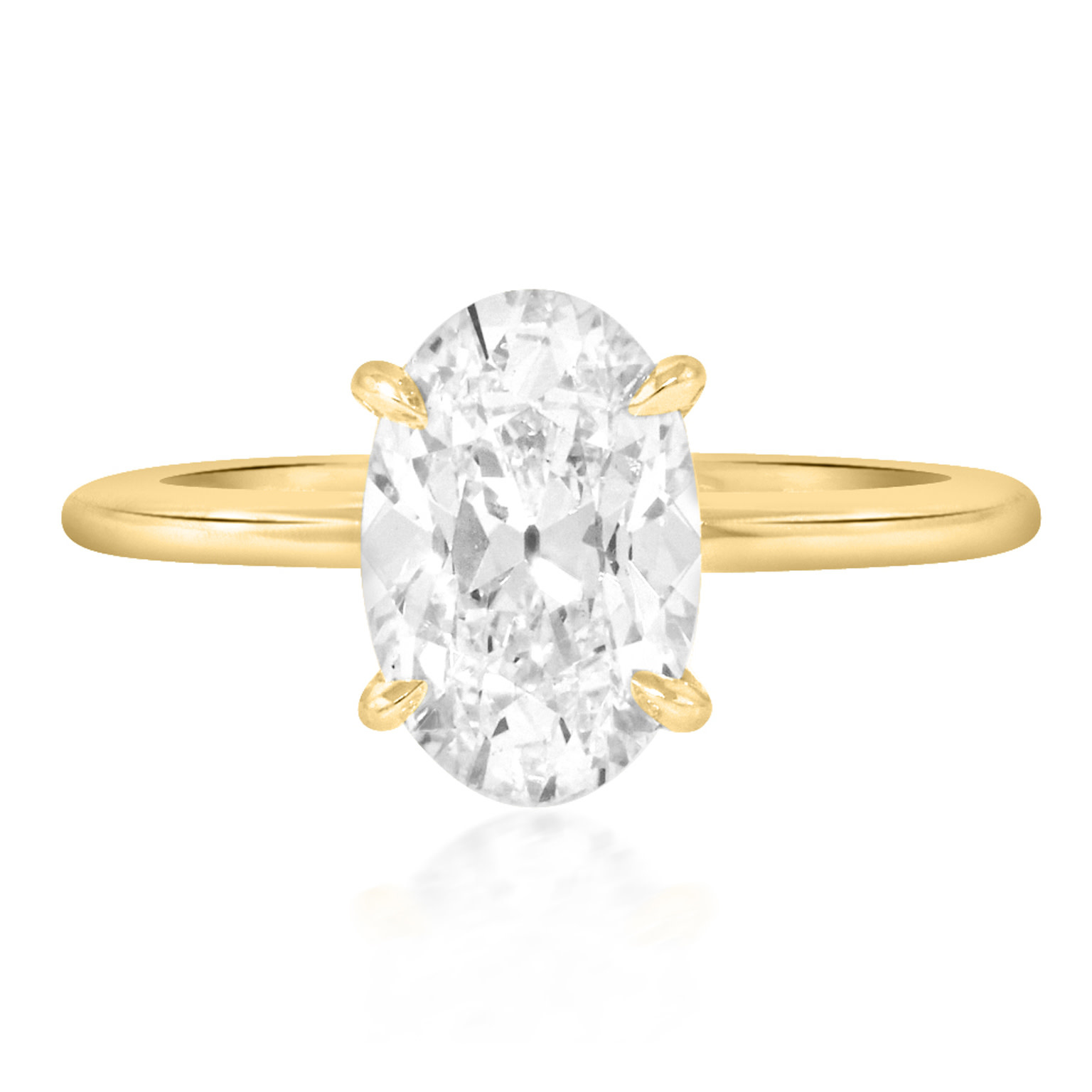 Trabert Goldsmiths 2.02ct FVS1 Antique Oval Lab Diamond Aura Ring