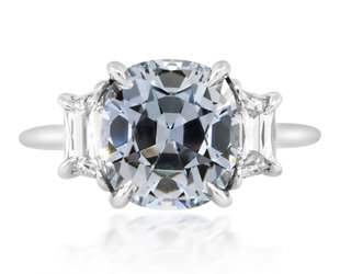 Trabert Goldsmiths 4.39ct Pale Blue Sapphire Twilight Ring E3076