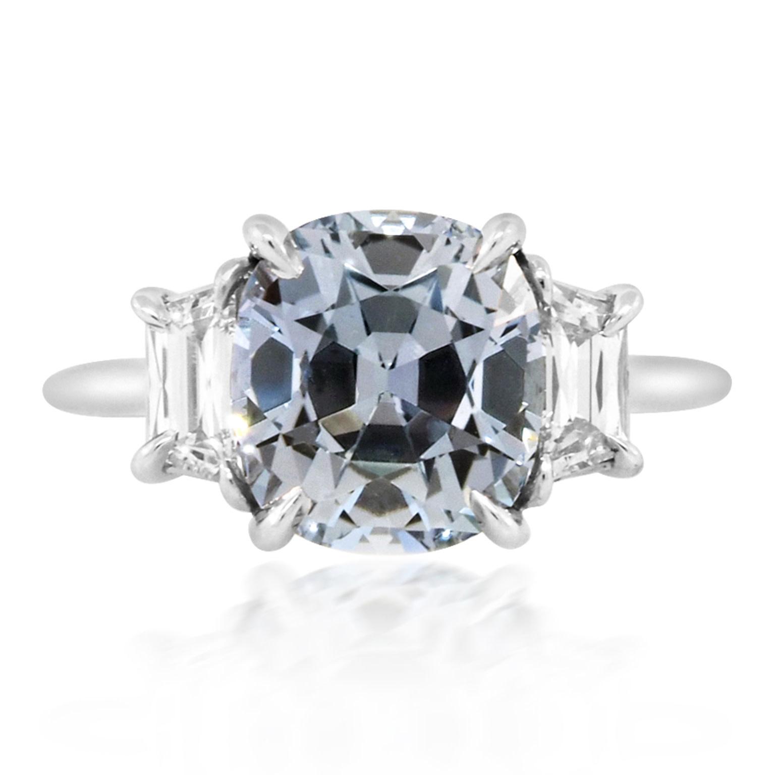 Trabert Goldsmiths 4.39ct Pale Blue Sapphire Twilight Ring