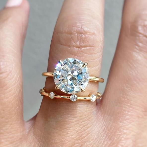 Trabert Goldsmiths 3.18ct KVVS2 Old Euro Cut Diamond Aura Ring