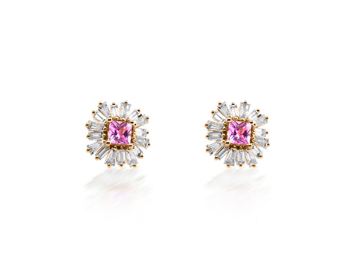 Trabert Goldsmiths Pink Sapphire Baguette Diamond Stud Earrings