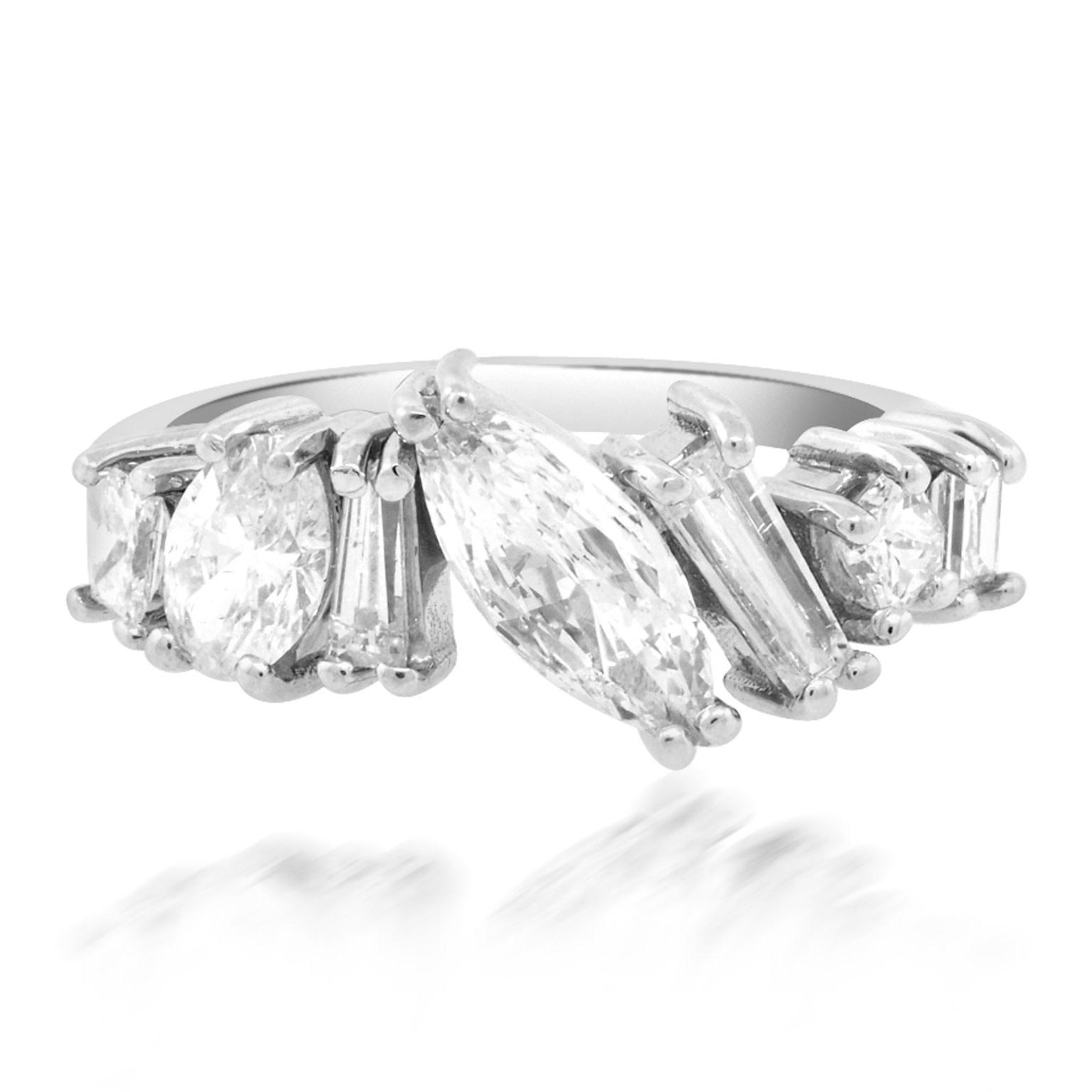 Trabert Goldsmiths Fancy Mixed Cut Diamond White Gold Ring