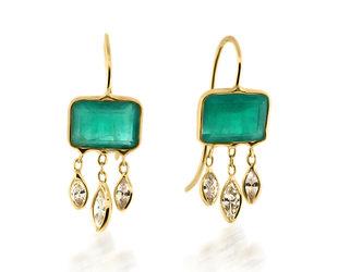 Trabert Goldsmiths Emerald Bezel Diamond Drop Earrings E3083