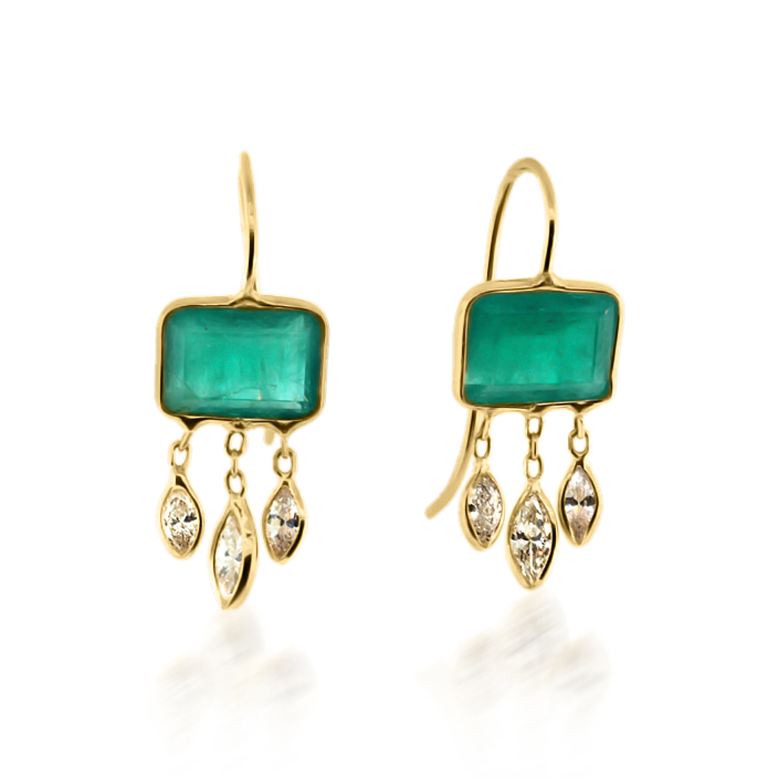 Trabert Goldsmiths Emerald Bezel Diamond Drop Earrings