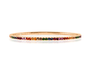 Trabert Goldsmiths Rainbow Sapphire Rose Gold Flex Bracelet E3086