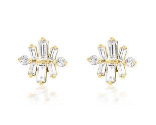 Trabert Goldsmiths Star Ray Baguette Diamond Stud Earrings E3091