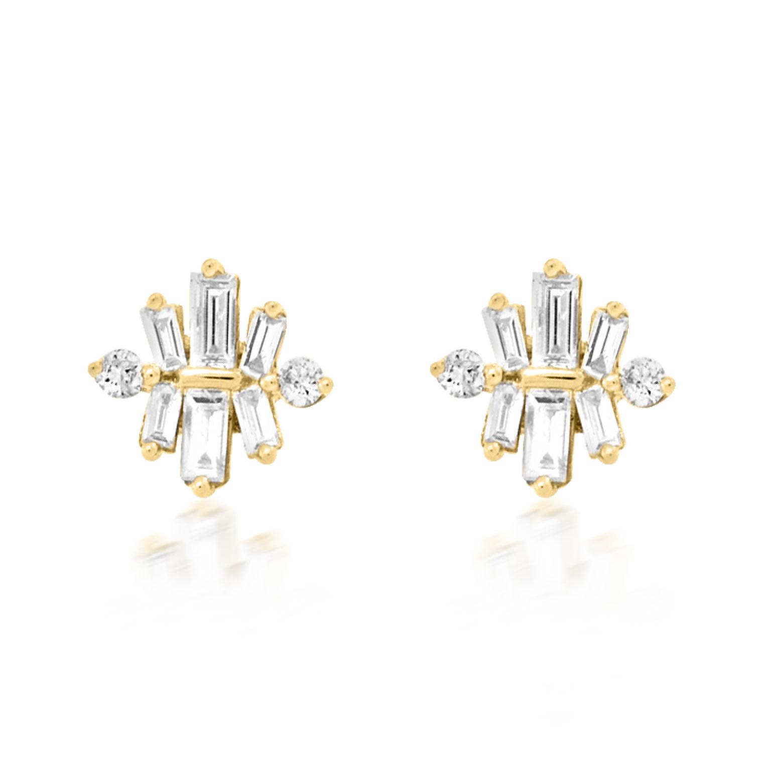 Trabert Goldsmiths Star Ray Baguette Diamond Stud Earrings