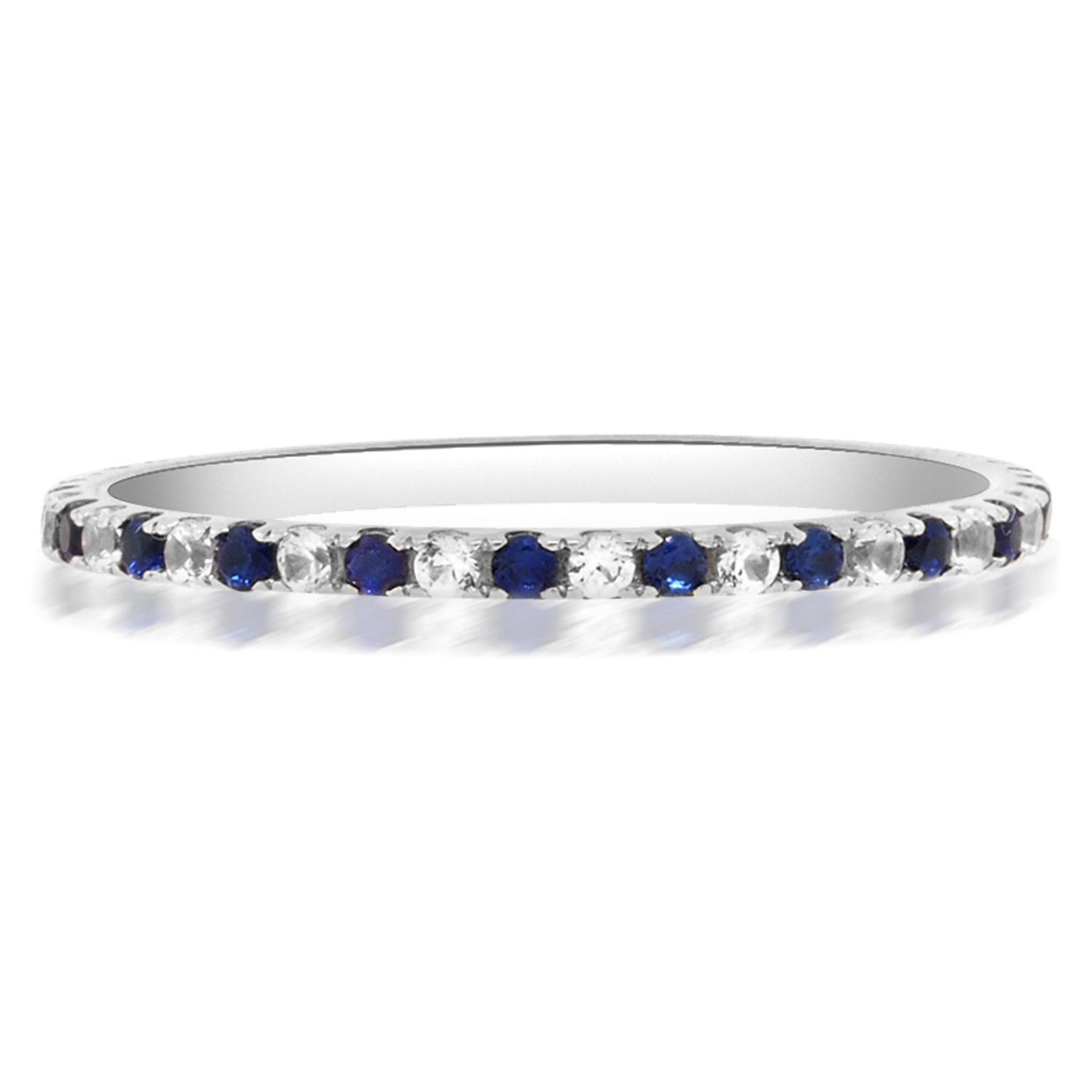 Trabert Goldsmiths Delicate Sapphire and Diamond Eternity Band