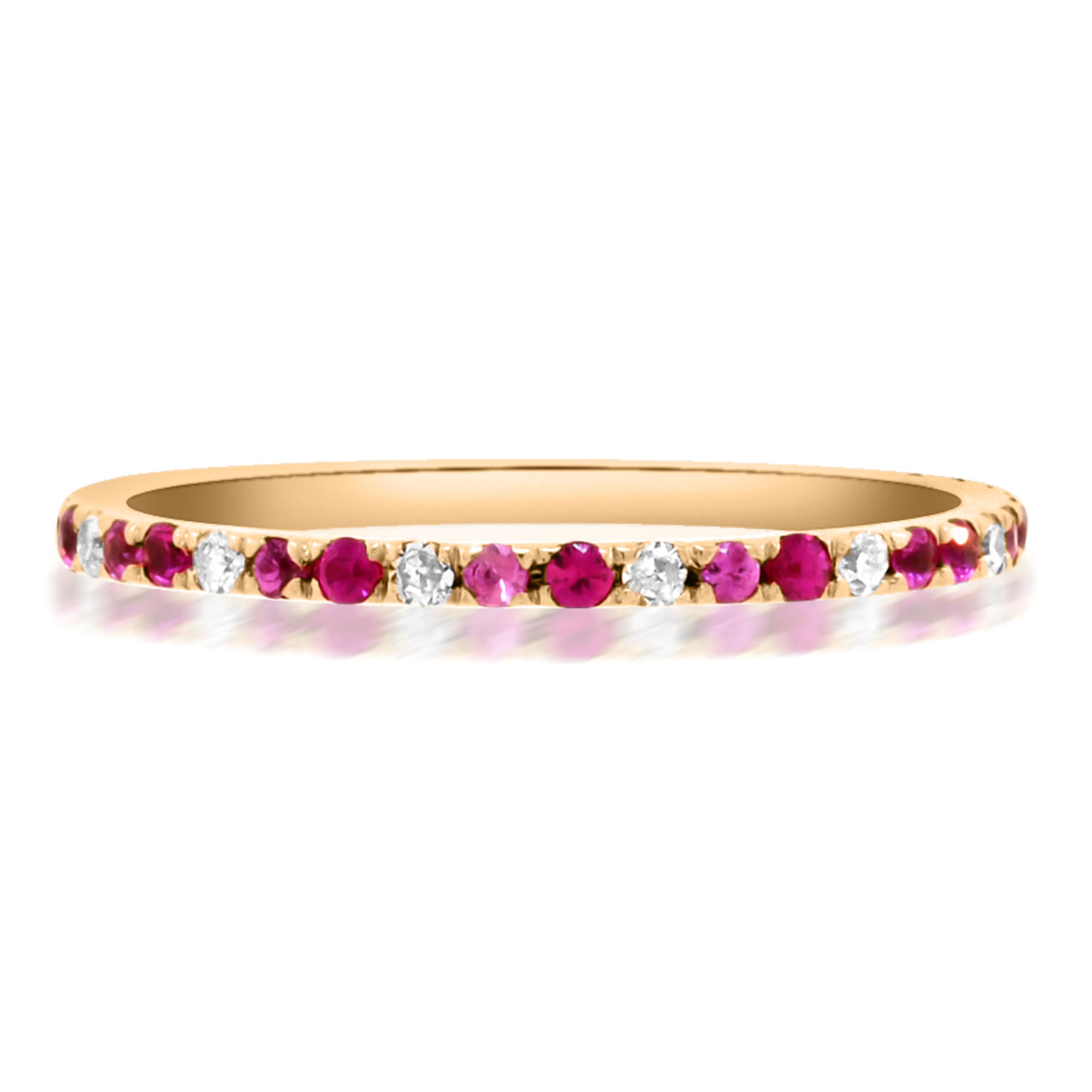 Trabert Goldsmiths Pink Sapphire and Ruby Delicate Eternity Ring