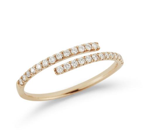Dana Rebecca Lauren Joy Bypass Diamond Yellow Gold Ring