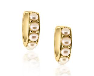 Trabert Goldsmiths Pearl Huggie Hoop Earrings E3092