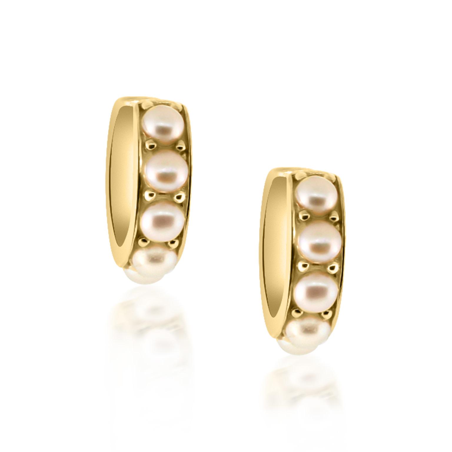 Trabert Goldsmiths Pearl Huggie Hoop Earrings