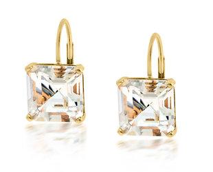 Trabert Goldsmiths Asscher Cut White Topaz Drop Earrings E3095