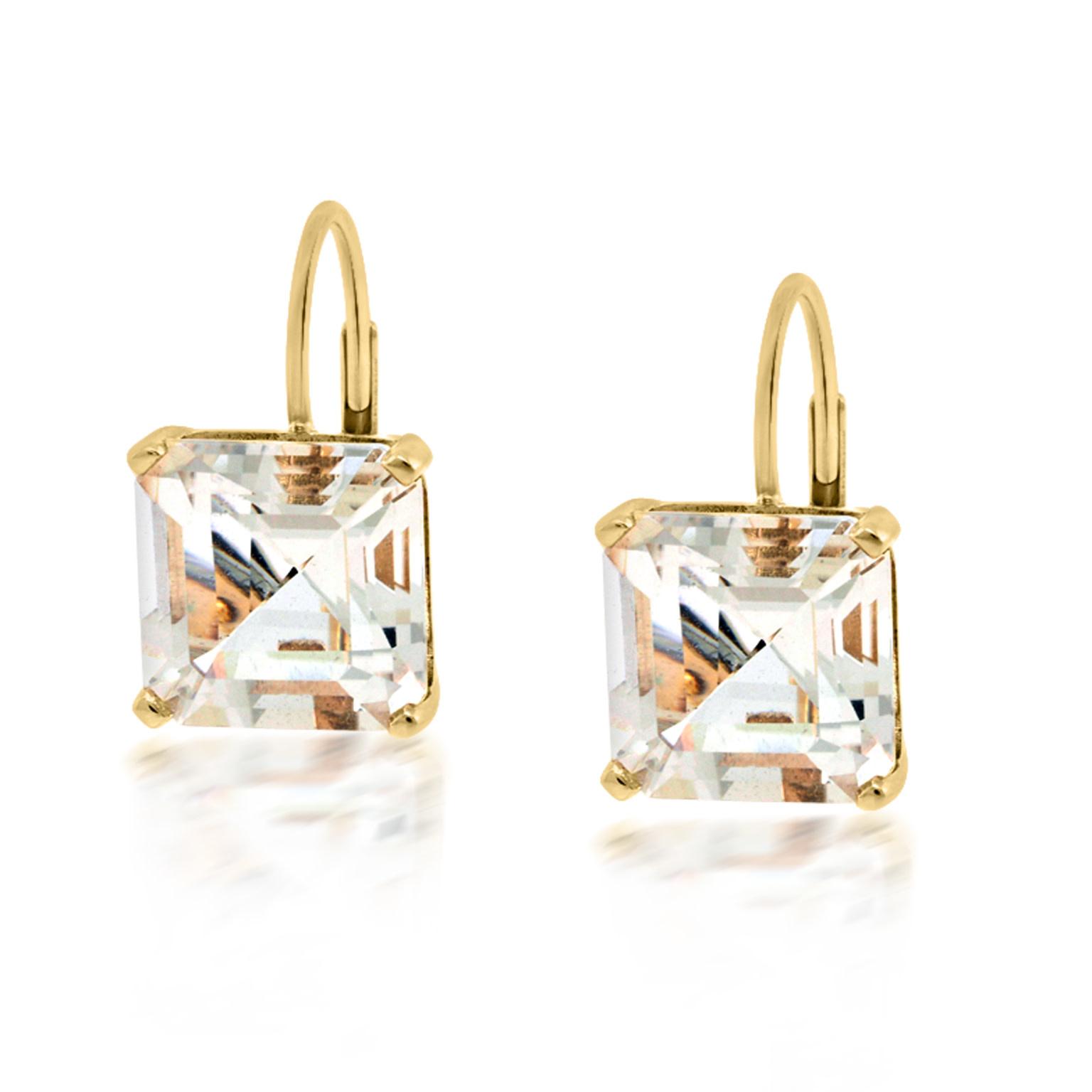 Trabert Goldsmiths Asscher Cut White Topaz Drop Earrings