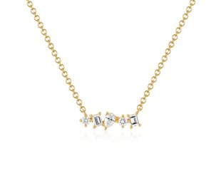 EF Collection Multi Faceted Diamond Gold Bar Necklace EF18