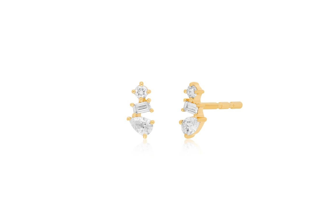 EF Collection Multi Faceted Diamond Gold Studs