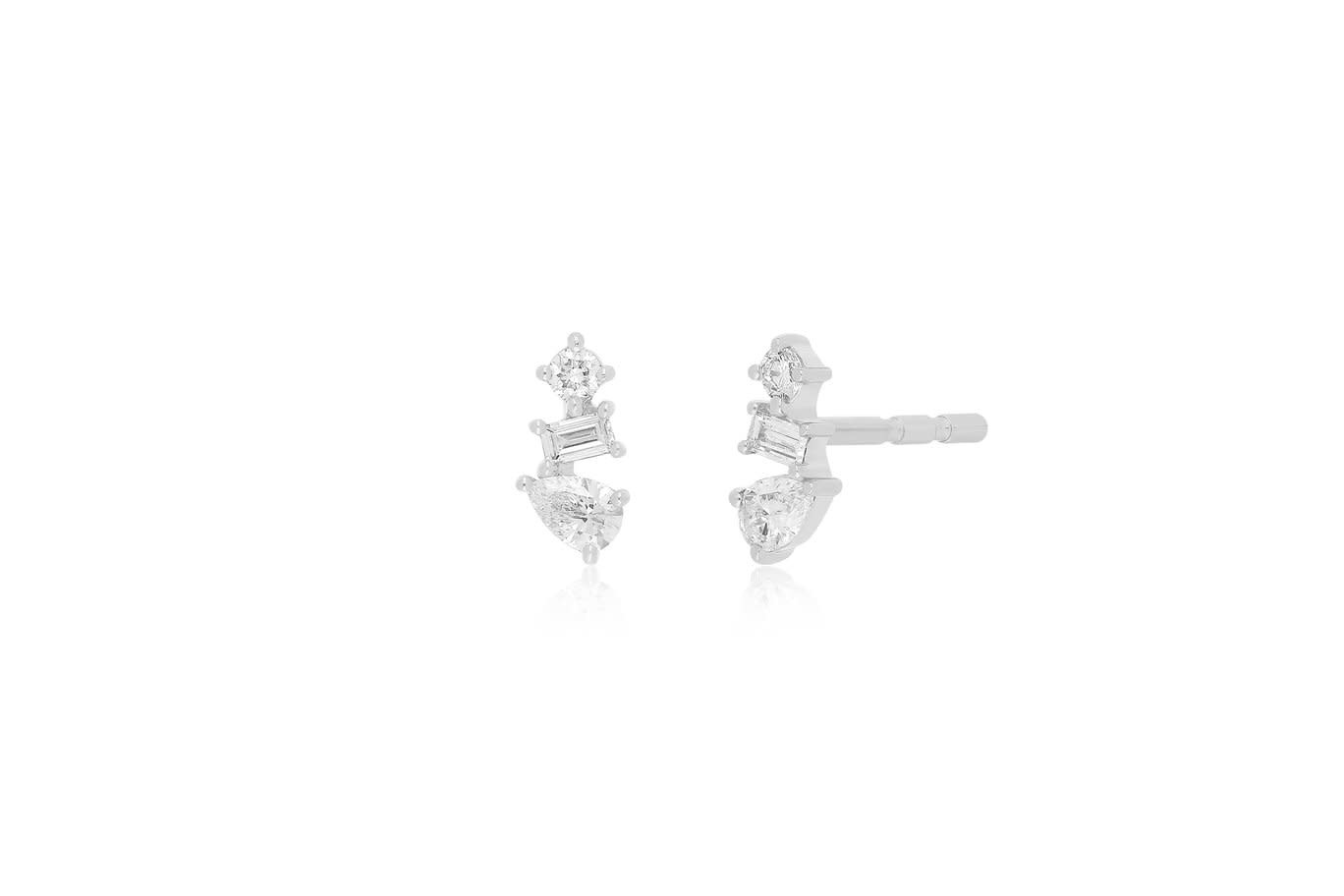 EF Collection Multi Faceted Diamond White Gold Studs