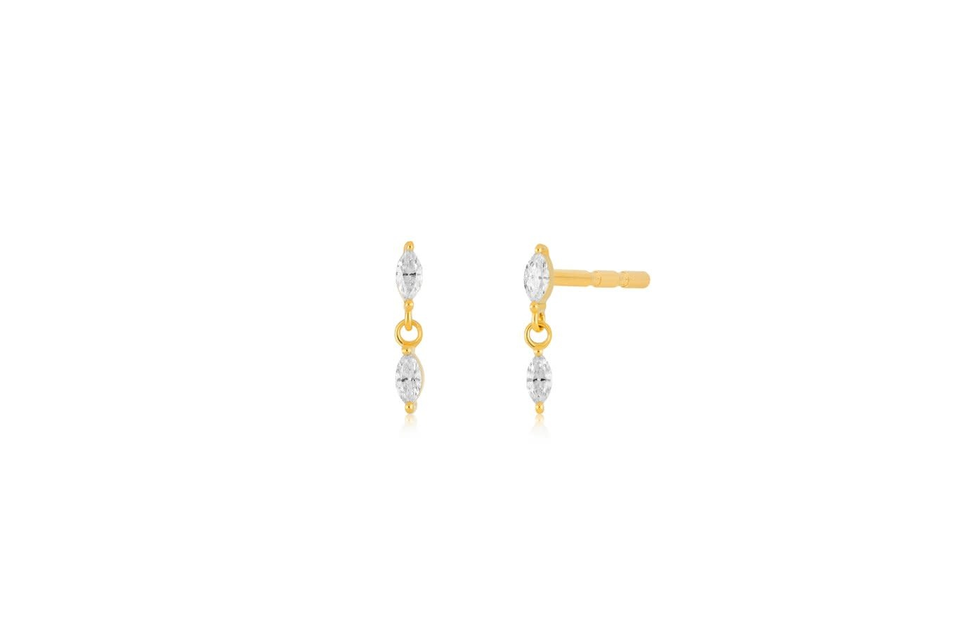 EF Collection Marquise Diamond Dangle Gold Stud Earrings