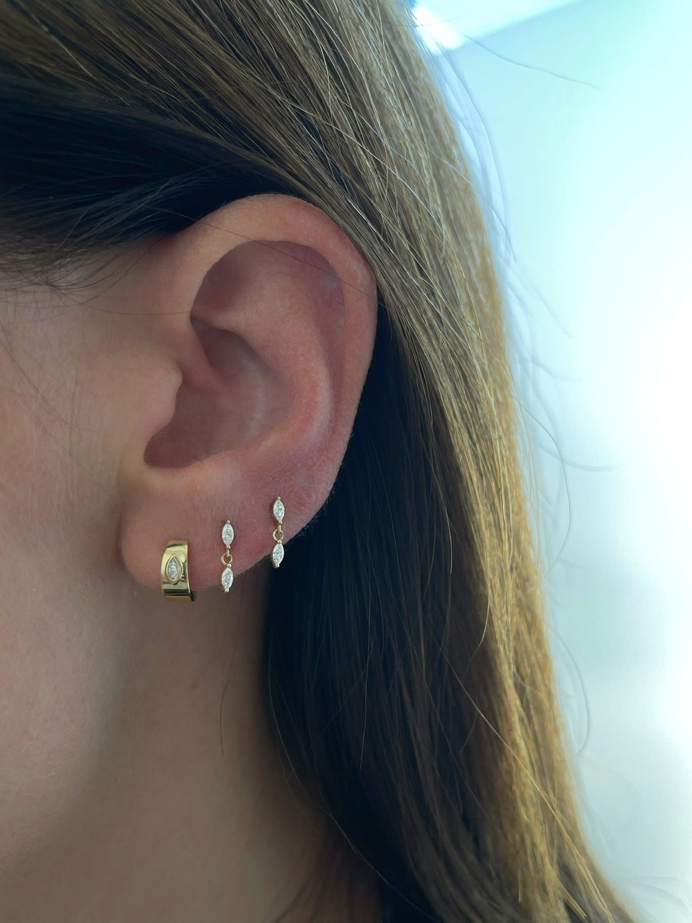 EF Collection Marquise Diamond Dangle White Gold Studs