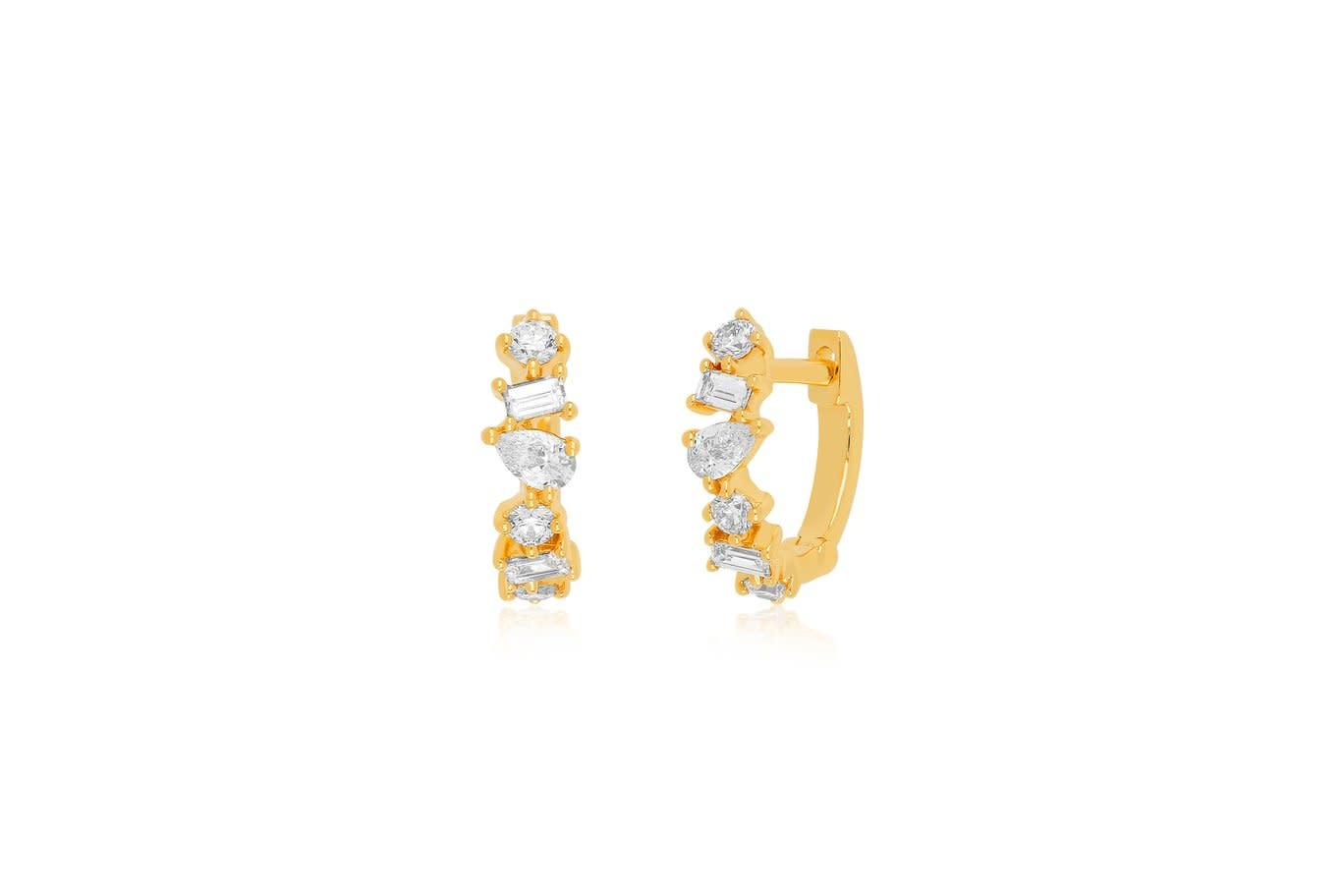 EF Collection Multi Faceted Dia Mini Huggie Earrings