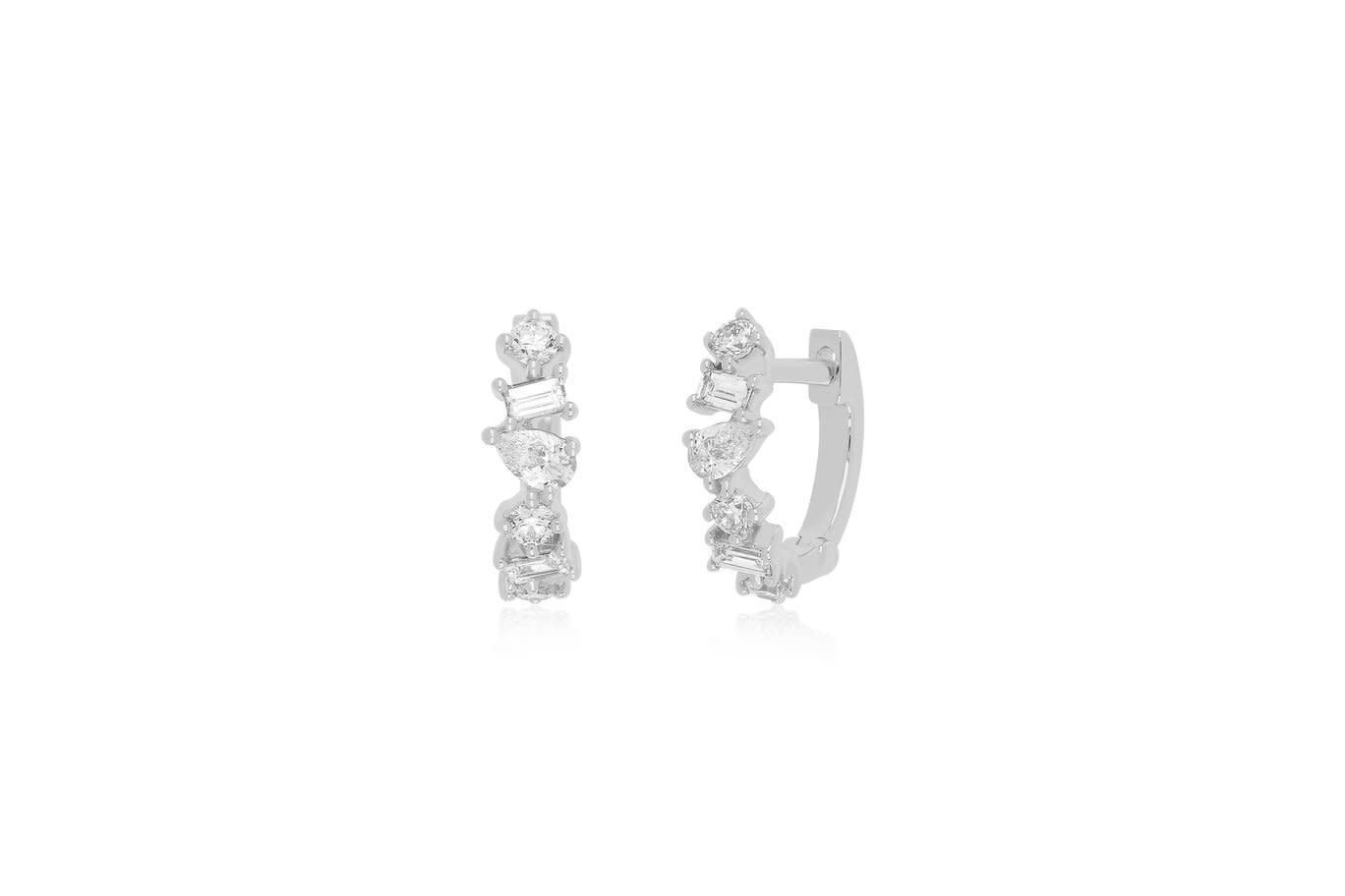 EF Collection Multi Faceted Diamond White Gold Huggie Earrings