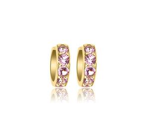 Trabert Goldsmiths Small Pink Sapphire Huggie Hoop Earrings E3093