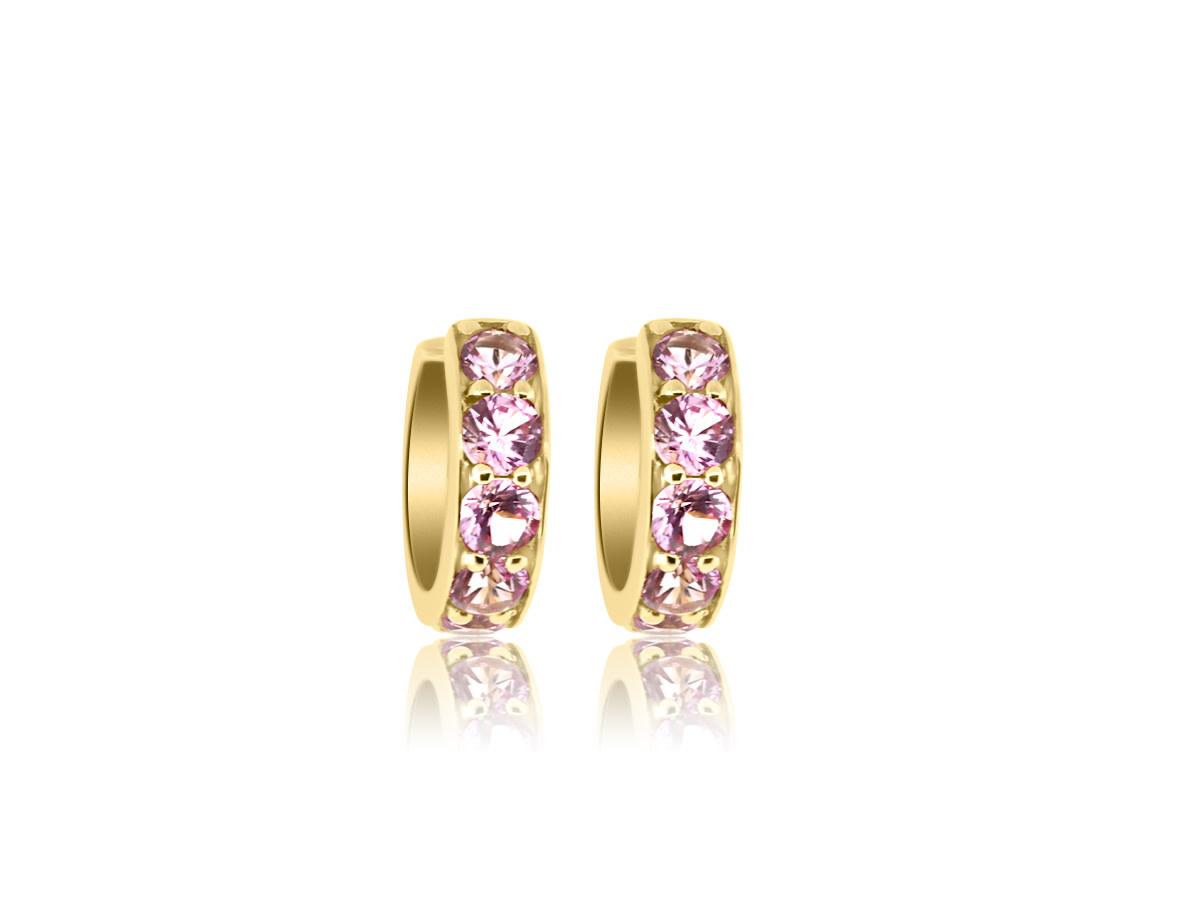 Trabert Goldsmiths Small Pink Sapphire Huggie Hoop Earrings