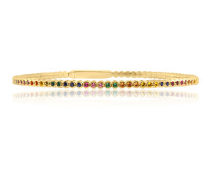Trabert Goldsmiths Rainbow Sapphire Gold Bezel Flex Bracelet E3097