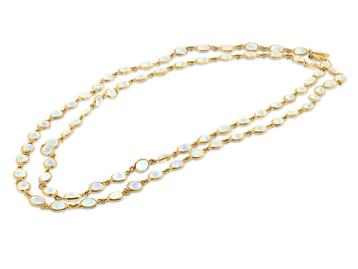 Trésor Long Blue Moonstone Bezel Necklace