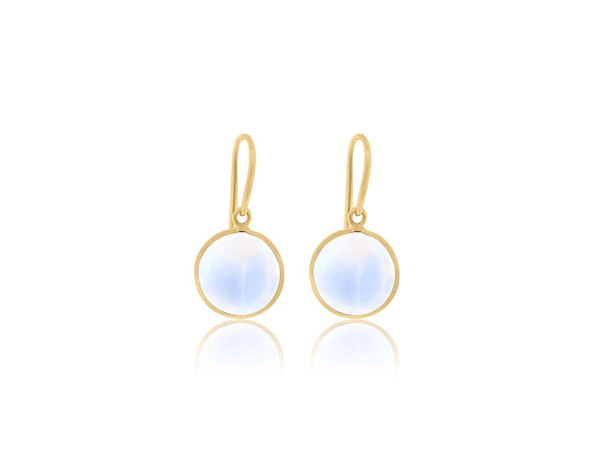 Trésor Blue Moonstone Bezel Drop Earrings