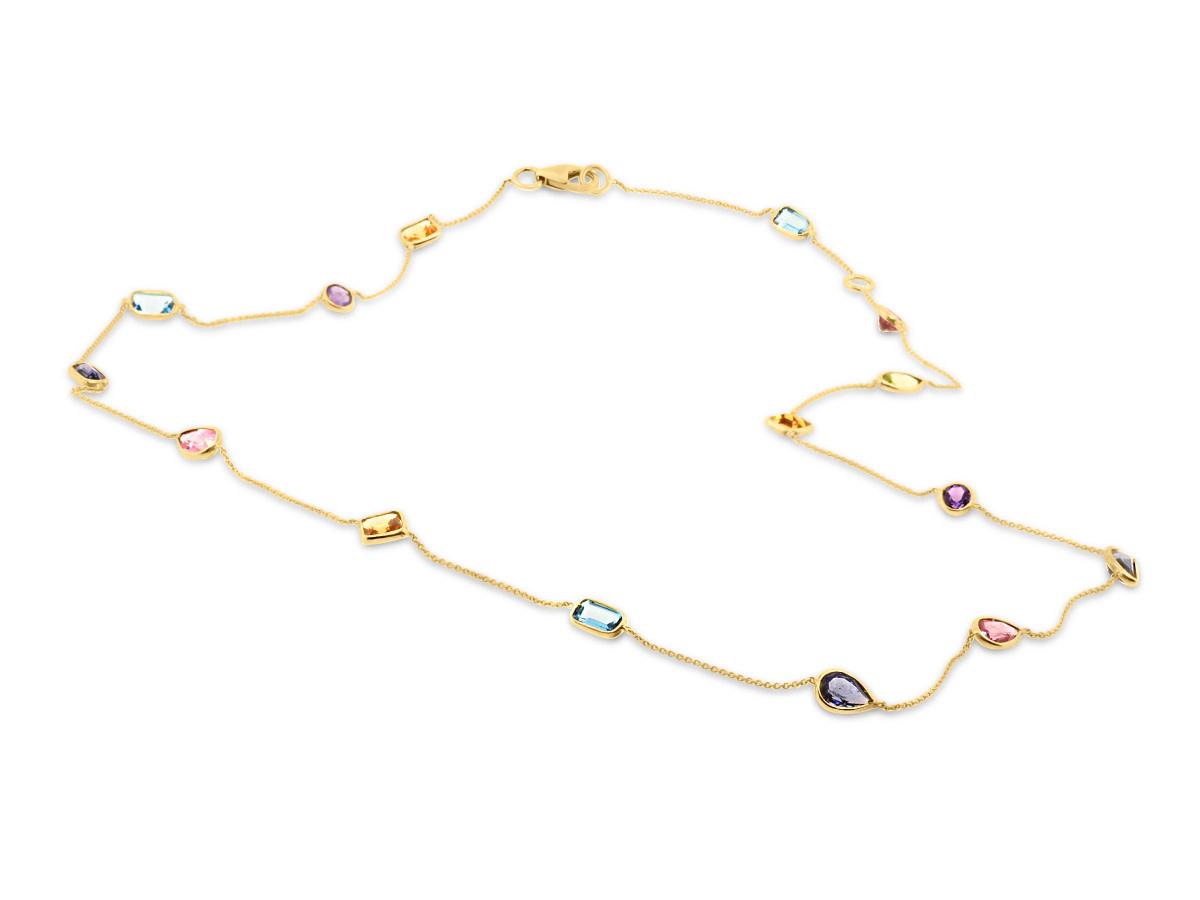 Trésor Multi Gemstone Bezel Necklace