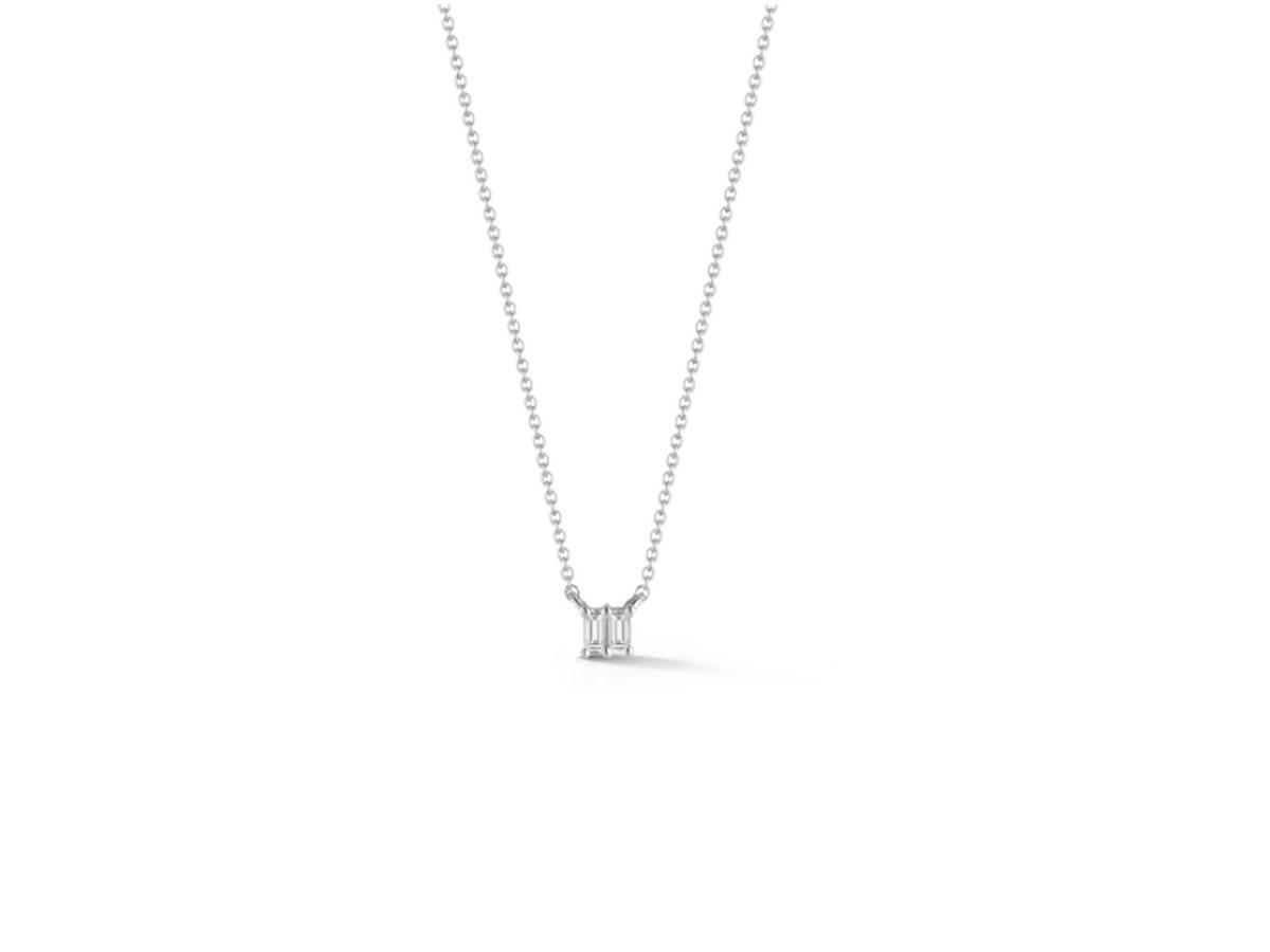 Dana Rebecca Sadie Pearl Double Baguette White Gold Necklace