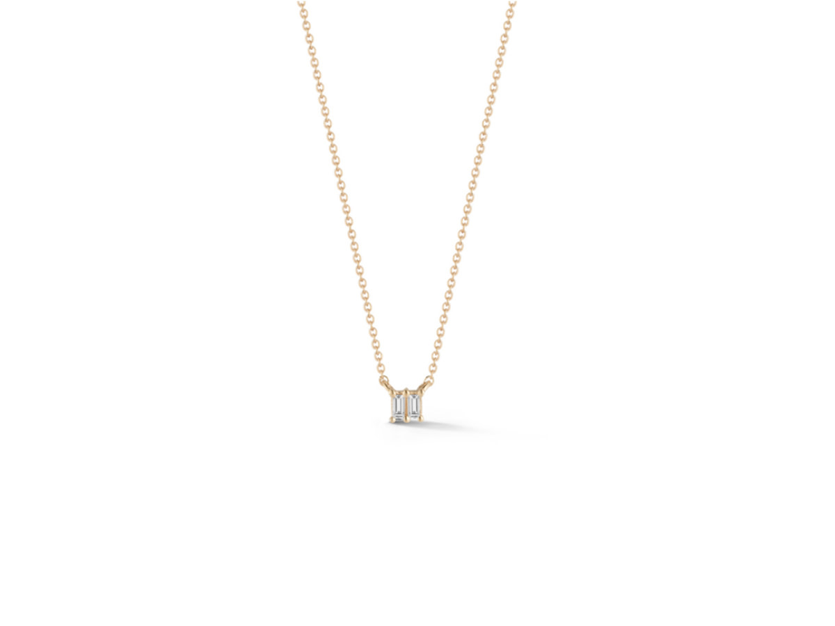 Dana Rebecca Sadie Pearl Double Baguette Yellow Gold Necklace