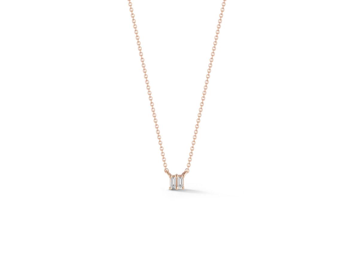 Dana Rebecca Sadie Pearl Double Baguette Rose Gold Necklace