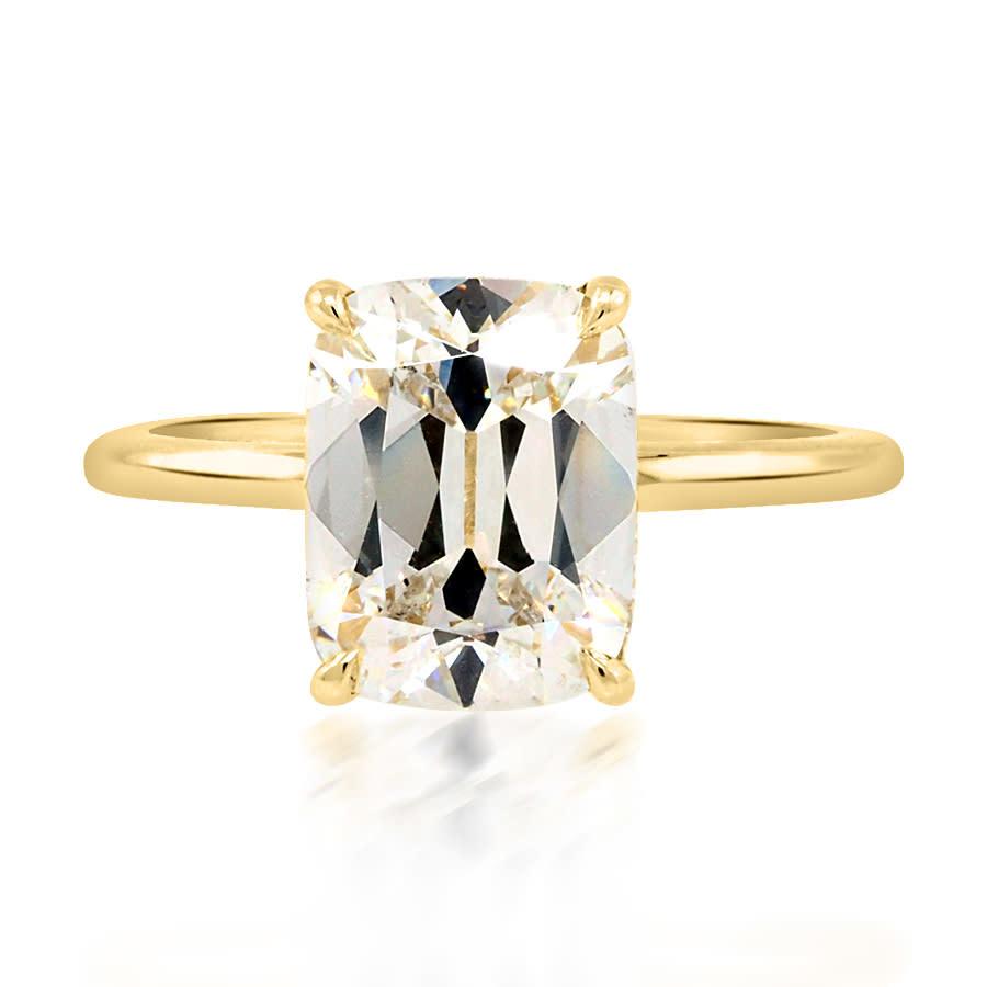 Trabert Goldsmiths 3.01ct HVS2 Antique Cushion Lab Diamond Aura Ring