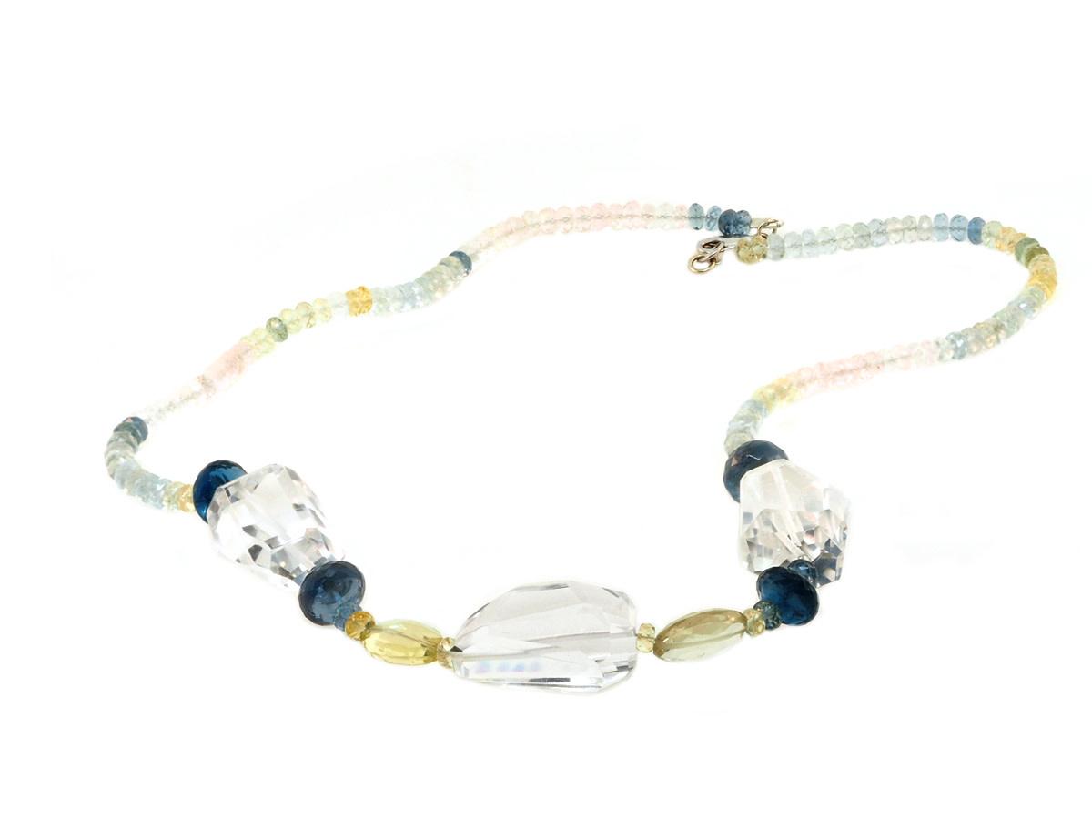 Trabert Goldsmiths Aquamarine and Quartz Beaded Necklace