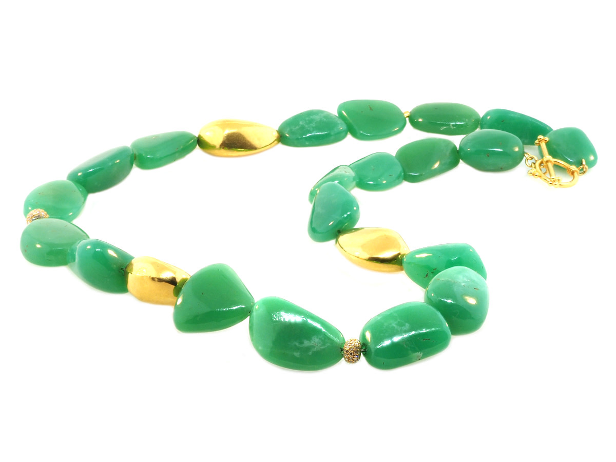 Trabert Goldsmiths Chrysoprase and Yellow Gold Bead Necklace